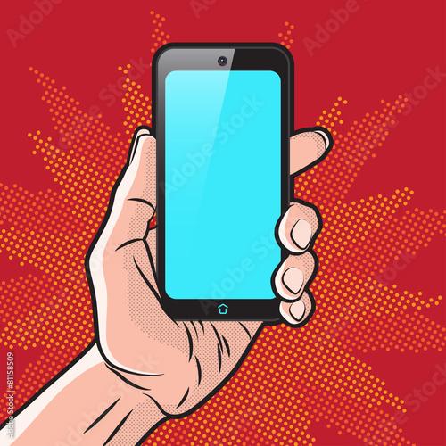 Fotobehang Pop Art Smartphone in Hand