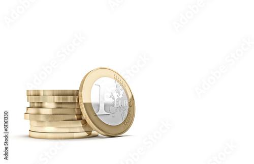 Fotografia  euro coin on white
