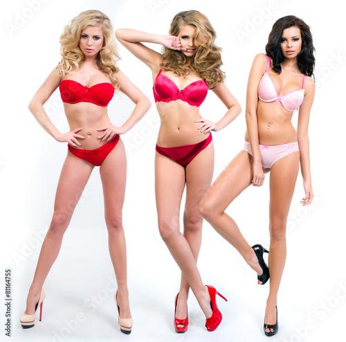 Fototapeta Women in full growth pose in front of the chamber in lingerie obraz na płótnie