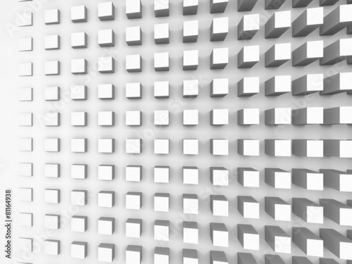 Background with cubes pattern on white wall, 3d illustration © evannovostro