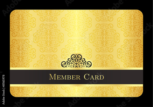 Fotomural Golden member card with classic vintage pattern