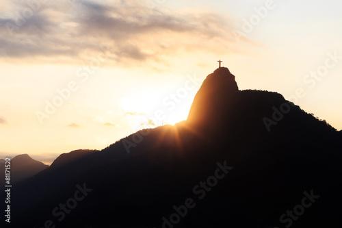Sunset Mountain Christ the Redeemer, Rio de Janeiro Poster