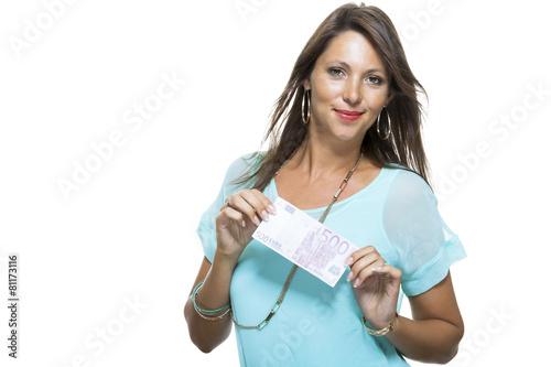 Fotografie, Tablou Smiling Attractive Woman Holding 500 Euro Bill