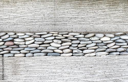 obraz PCV Warstwa mur z kamienia, kamyki i cementu, tło tekstury