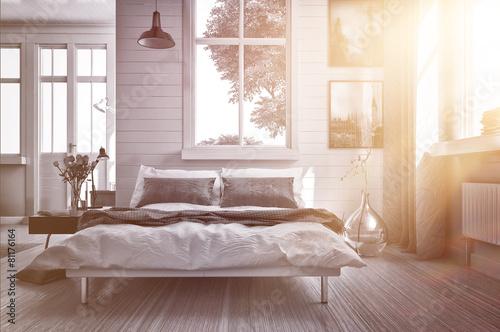 Foto  Luxuriöses Schlafzimmer mit warmen Sonnenstrahl