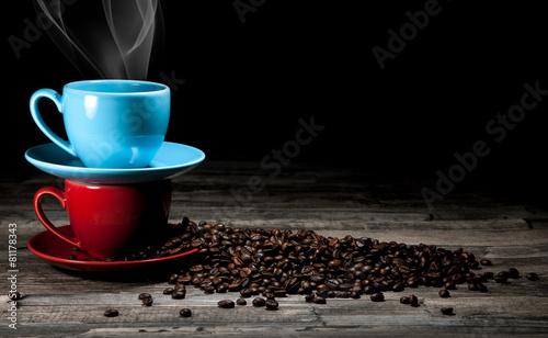 Spoed Foto op Canvas koffiebar Kaffee Tassen Hintergrund
