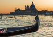 Leinwandbild Motiv Gondola on Canal Grande with Basilica di Santa Maria della Salut