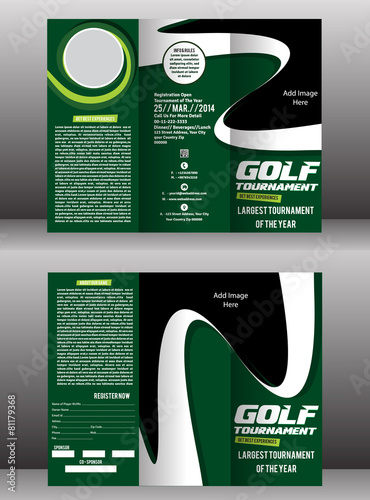 tri fold golf brochure flyer template buy this stock vector and