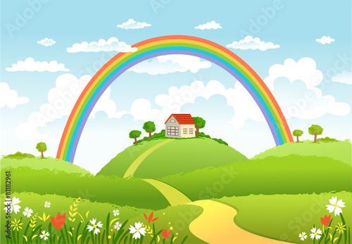 Tuinposter Purper Vector illustration of beautiful landscape with rainbow.