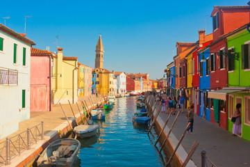Panel Szklany Podświetlane Kolorowe domki Burano, Italien