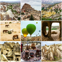 Cappadocia, Turkey. Collage Travel - Cave Mountain Landscapes