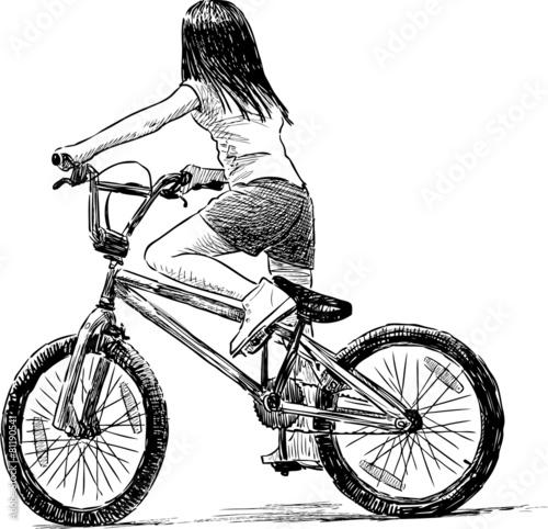 In de dag Illustratie Parijs little girl rides a bicycle
