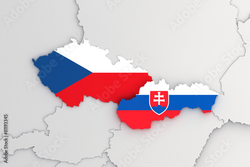 Fényképezés  Slovak republic and Czech republic 3D map FLAG version