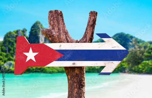 Poster Algerije Cuba Flag wooden sign with beach background