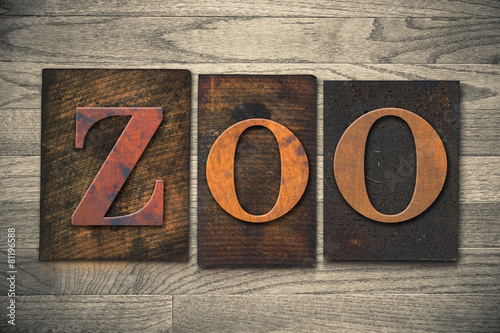 Fotografie, Obraz  Zoo Wooden Letterpress Theme