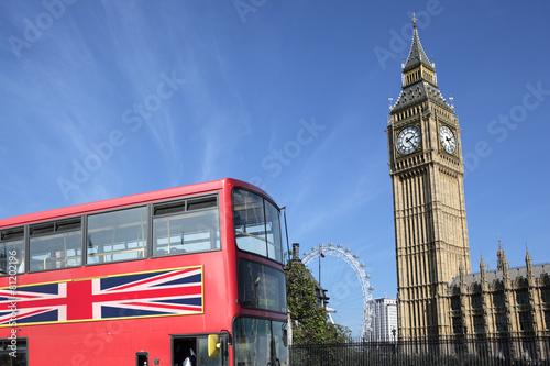 Foto op Canvas Londen London Bus with Big Ben