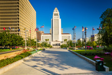 City Hall, Seen At Grand Park In Downtown Los Angeles, Californi