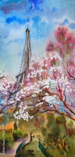 akwarela-obrazu-krajobraz-z-kwitnacym-wiosny-drzewem-w-paryz
