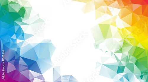 Colorful rainbow polygon background or vector frame Wallpaper Mural