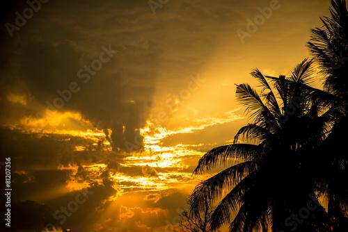 Foto op Aluminium Strand Red sky at sunset.