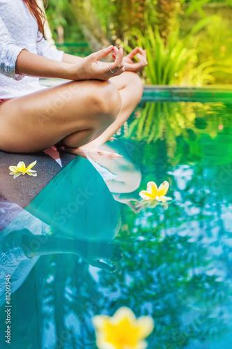 meditating woman abstract faceless photo Canvas Print