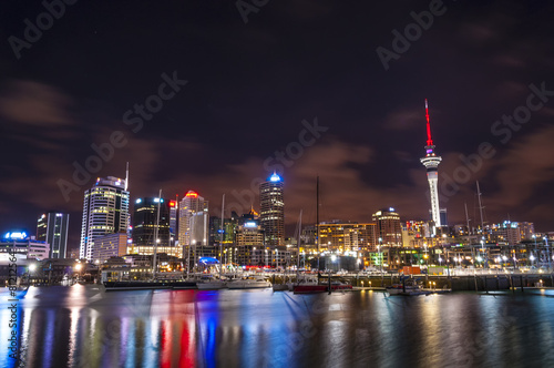 Auckland, New Zealand city at night