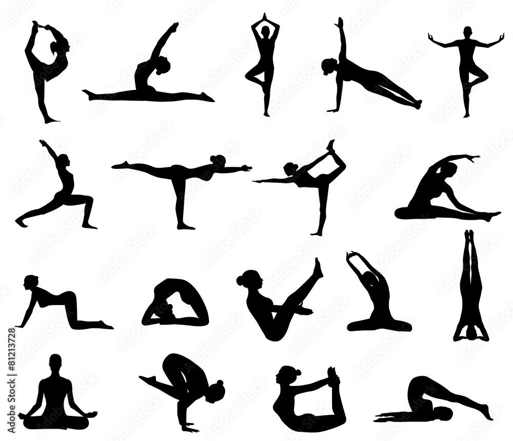 Fototapeta girl makes yoga exercise