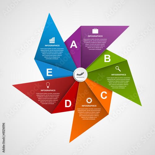 Fotografia, Obraz  Infographics design template in the shape of air pinwheel.