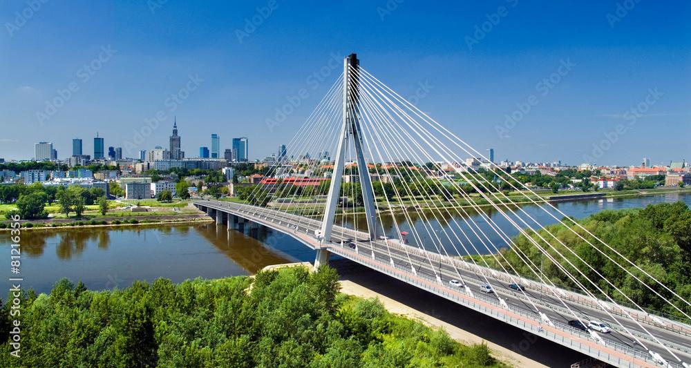 Fototapety, obrazy: Bridge in Warsaw over Vistula river