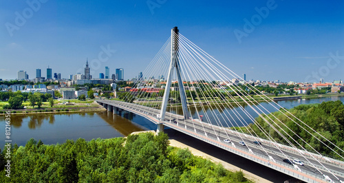 Tuinposter Bruggen Bridge in Warsaw over Vistula river