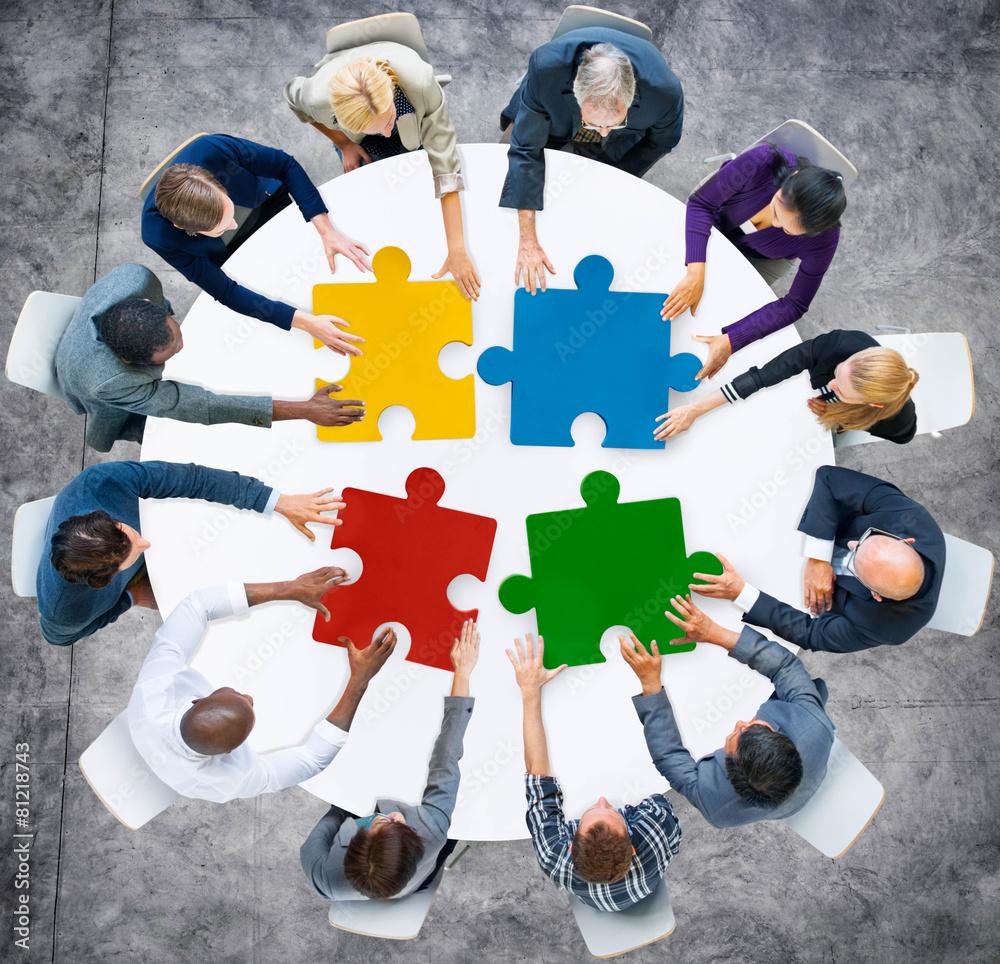 Fototapeta Business People Jigsaw Puzzle Collaboration Team Concept