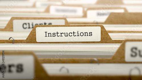 Instructions Concept with Word on Folder. Canvas-taulu