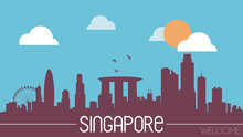 Singapore Skyline Silhouette Flat Design Vector Illustration