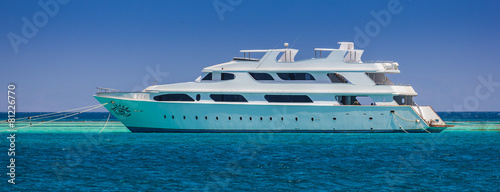 yacht on a background of blue sea