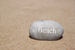 one stone pebbles with the word beach over sandy beach