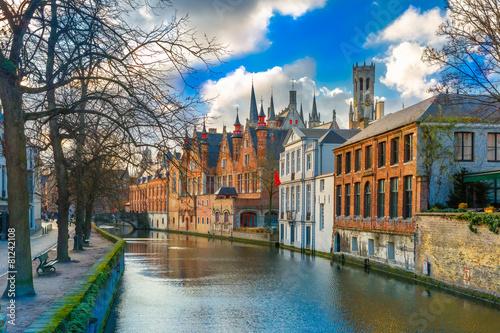 Wall Murals Bridges Belfort and the Green canal in Bruges, Belgium