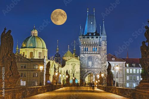 Poster Prague Karlsbrücke Prag beleuchtet