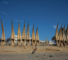 Reed Boats At Huanchaco In Peru