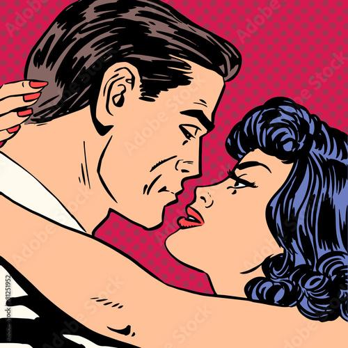 Papiers peints Pop Art Kiss love movie romance heroes lovers man and woman pop art comi
