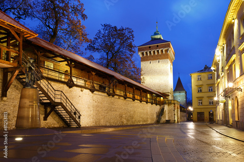 Fototapeta City wall and historic architecture inKrakow, Poland. obraz