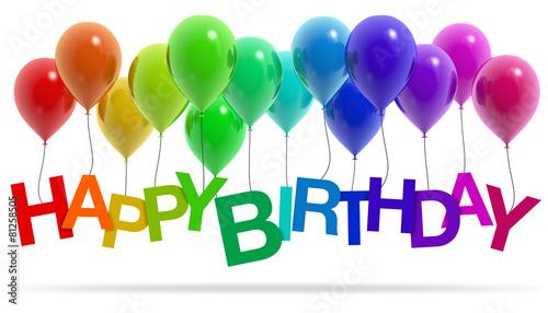 Fototapeta Happy Birthday Einladung Ballons obraz