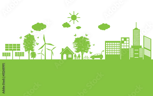 Obraz Green ecology City environmentally friendly . - fototapety do salonu