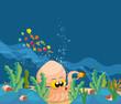 giant squid in the ocean