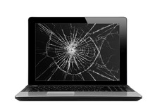 Black Laptop With Broken Screen Isolated On White