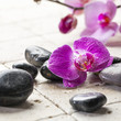 zen femininity with massage stones and orchid flowers