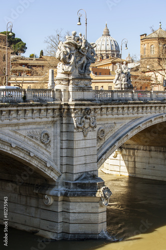 Photo  Rome, Italy. Embankments of Tiber and the bridge
