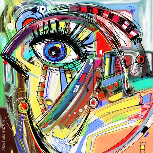 original abstract digital painting artwork of doodle bird #81277346