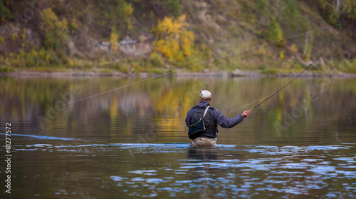 Fotografie, Tablou Fly fisherman flyfishing in river