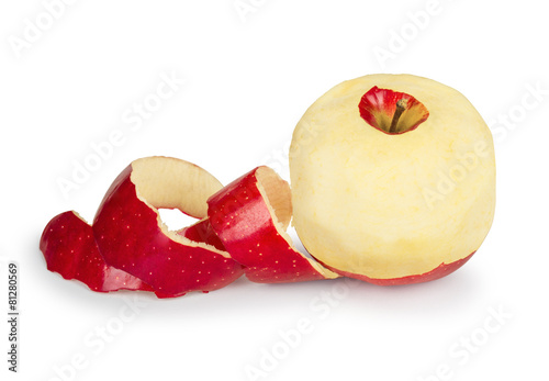 Fotografía  Red apple with peeled skin like a spiral on white background