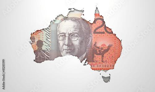 Staande foto Afrika Recessed Country Map Australia